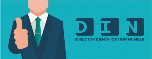 Graphical image of a man wearing a suit and showing his thumb finger and Director Identification Number text written.