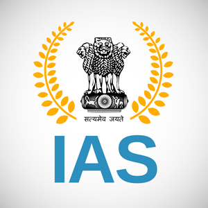 IAS Written in bold with our National Emblem above it and golden colour leaves on either sides